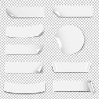 Biały pusty zestaw etykiet na białym tle
