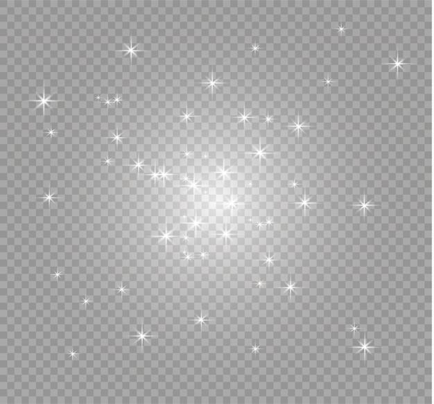 Biały pył. efekt bokeh. piękne błyski światła