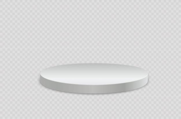 Biały realistyczny cylinder, pusty stojak, okrągłe podium, scena
