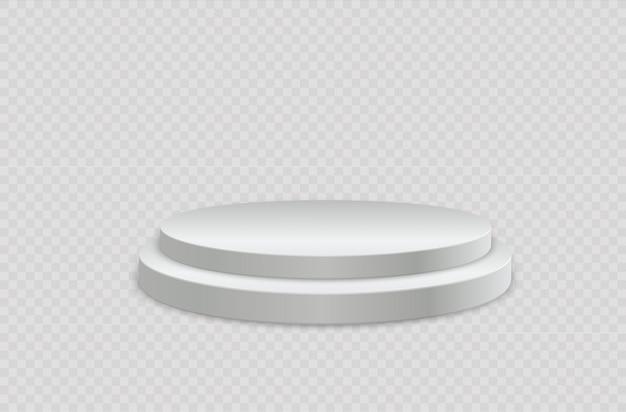 Biały realistyczny cylinder, pusty stojak, okrągłe podium.