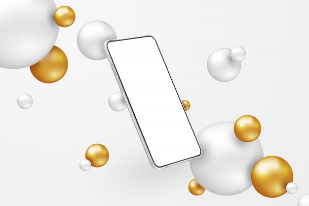 Biały realistyczny smartfon. telefon komórkowy z pustym białym ekranem na jasnym tle. nowoczesny telefon komórkowy szablon w abstrakcyjnej scenie z białymi i złotymi kulami