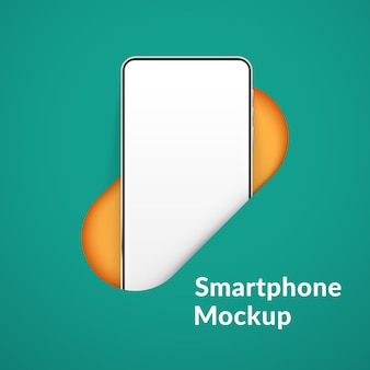 Biały realistyczny smartfon w dziurze. telefon komórkowy z pustym białym ekranem. nowożytny telefonu komórkowego szablon na zielonym tle. ilustracja ekranu urządzenia