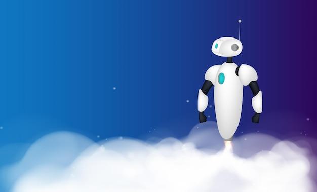 Biały robot startuje. ślady dymu. ilustracja.