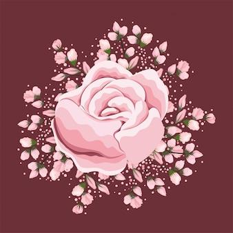 Biały różowy kwiat malowania projekt, naturalna kwiatowa natura ozdoba roślinna dekoracja ogrodowa i ilustracja motywu botanicznego