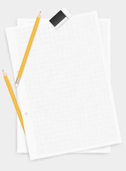Biały rysunkowy papierowy tło z ołówkiem i gumką.