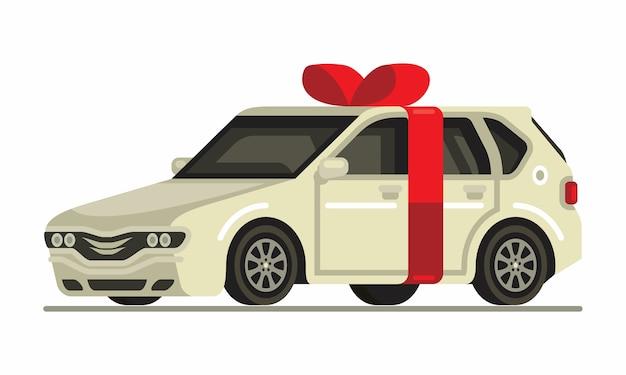 Biały samochód prezent płaski z czerwoną wstążką