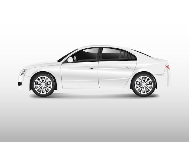 Biały sedan samochód odizolowywający na białym wektorze