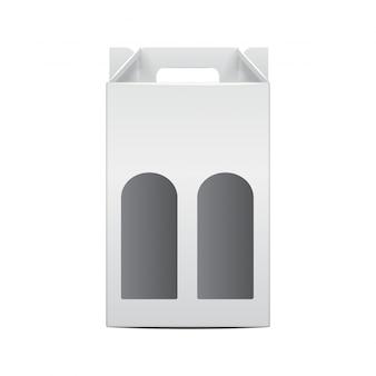 Biały Składany Pakiet Butelek Winorośli Szablon. Premium Wektorów
