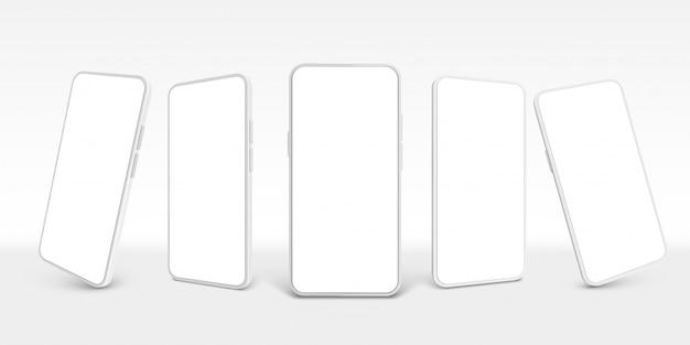 Biały smartfon. telefon komórkowy, puste smartfony i nowoczesny bezramowy smartfon ekran realistyczny zestaw szablonów 3d. kolekcja clipartów na telefony komórkowe