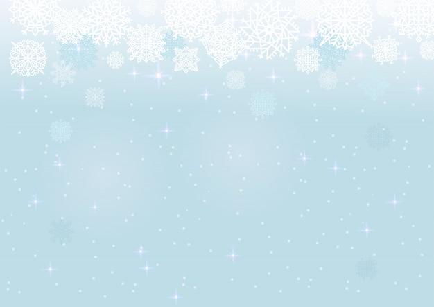 Biały śnieg na niebieskim tle siatki, motyw zimowy i świąteczny.
