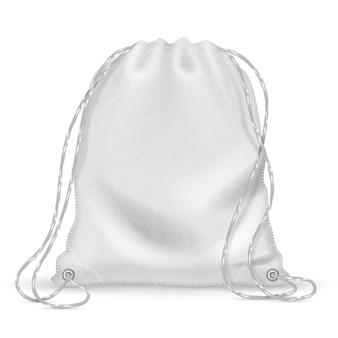 Biały sportowy plecak, plecak z tkaniny ze sznurkami. szablon na białym tle wektor