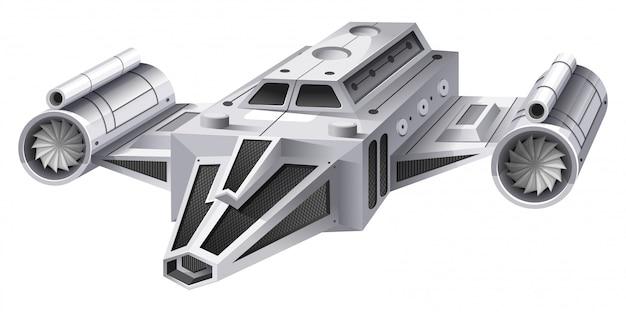 Biały statek kosmiczny z dwoma silnikami