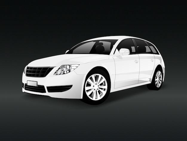 Biały suv samochód w czarnym tło wektorze