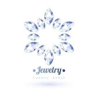 Biały symbol biżuterii kamieni szlachetnych. kształt gwiazdy lub kwiatu. diamenty na białym tle.