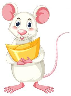 Biały szczur gospodarstwa złota na białym tle