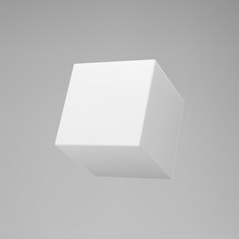 Biały sześcian modelowania 3d z perspektywą na szarym tle