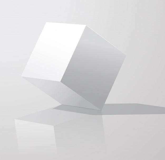 Biały sześcian z cieniami odizolowywającymi na bielu