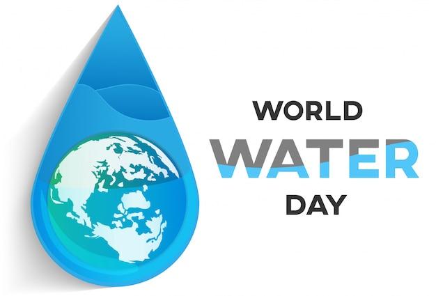 Biały sztandar dnia wody na kampanię oszczędza wodę
