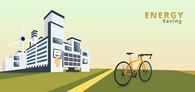 Biały sztandar miasta eko. oszczędzanie energii. oszczędnościowy pojęcie, wyłącza, ilustracja.