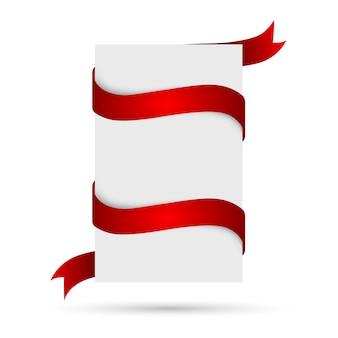 Biały sztandar z czerwoną wstążką. ilustracja.