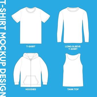 Biały t-shirt szablon zarys obrysu ilustracje