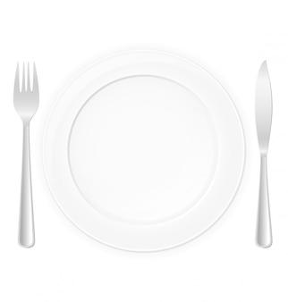 Biały talerz z ilustracji wektorowych widelec i nóż