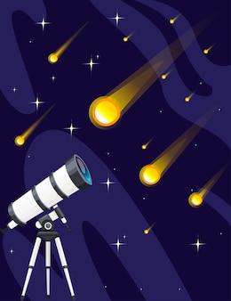 Biały teleskop i spadające gwiazdy na nocnym niebie tło płaskie wektor ilustracja starfall projekt pionowy baner.