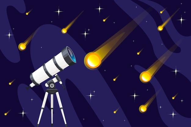 Biały teleskop i spadające gwiazdy na nocnym niebie tło płaskie wektor ilustracja starfall projekt poziomy baner.