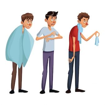 Biały tło ustawia pełnego ciało stoi różnorodnych choroba objawień ludzi męskich