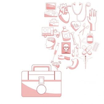 Biały tło z czerwonego koloru sekcjami sylwetka pierwszy zestaw pomoc z spławową ikony zdrowie wektoru ilustracją