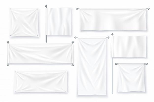 Biały transparent tekstylny. realistyczne płótno z tkaniny na znak reklamowy.