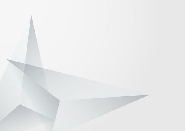 Biały trójkąt nowoczesny wektor szarym tle. minimalny szablon elementów. przezroczysta modna okładka. karta kształtów technologii.