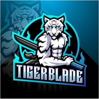 Biały tygrys z logo maskotki esport