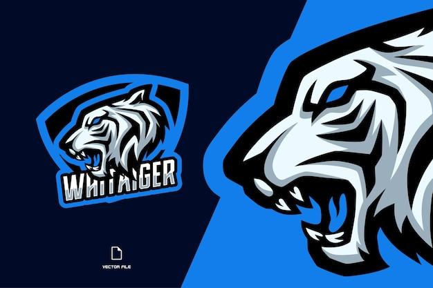 Biały tygrys z trójkątną maskotką logo gry e-sportowej dla drużyny sportowej