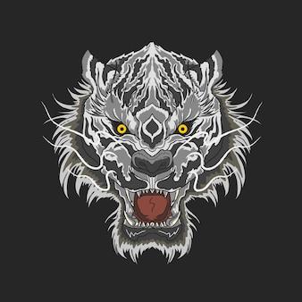 Biały tygrys zły twarz pasek żółte oczy