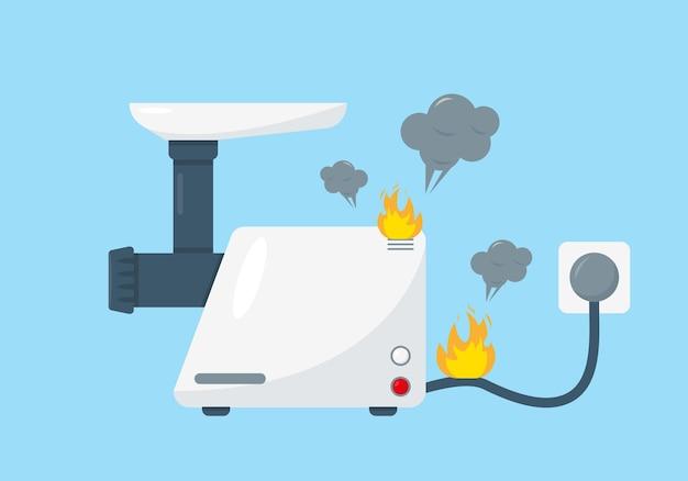 Biały uszkodzony maszynka do mięsa na białym tle na niebieskim tle. koncepcja usługi naprawy. sprzęt gospodarstwa domowego.