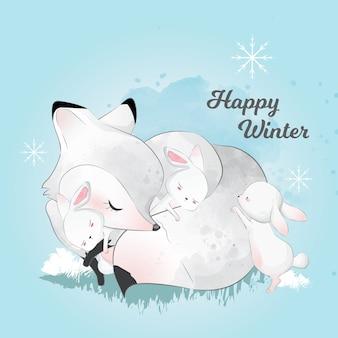 Biały winter fox i przyjaciele spanie w zimie