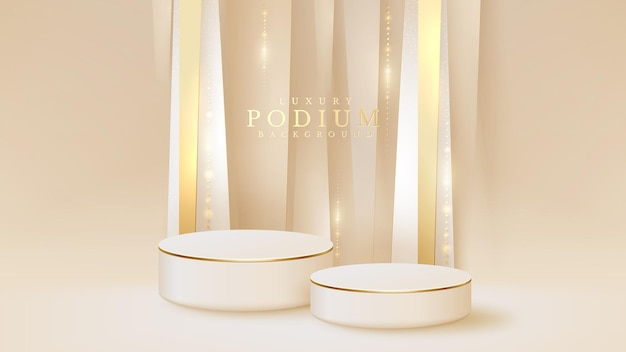 Biały wyświetlacz na podium i błyszcząca scena złotej linii, realistyczne tło w stylu luksusu 3d, ilustracji wektorowych do promowania sprzedaży i marketingu.