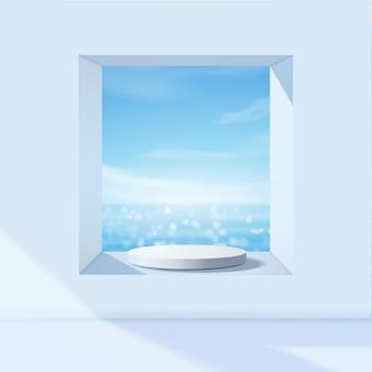 Biały wyświetlacz podium do prezentacji produktu, letnia plaża z błękitnym morzem