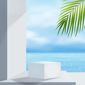 Biały wyświetlacz podium z palmą do prezentacji produktów, letnia plaża z błękitnym morzem