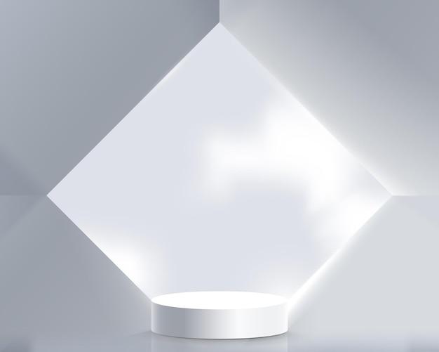 Biały wyświetlacz produktów z geometrycznym abstrakcyjnym wnętrzem architektonicznym. podium 3d.