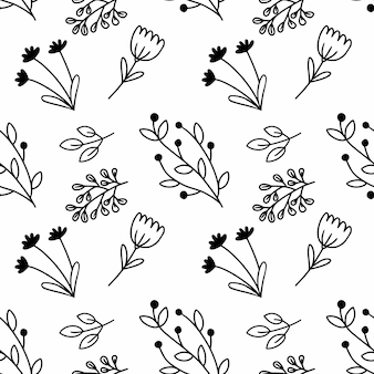 Biały wzór z czarnymi oddziałami stylu bazgroły. niekończące się tło do nadruku na tkaninie i papierze opakowaniowym.