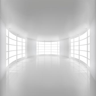 Biały zaokrąglony pokój oświetlony światłem słonecznym w tle