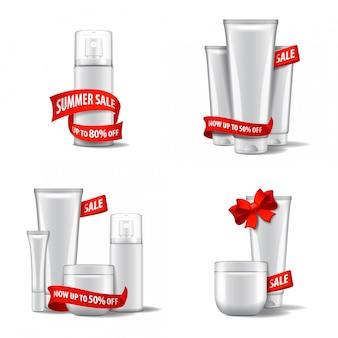 Biały zestaw kosmetyków z czerwoną wstążką i kokardką, wyprzedaż. szablon ilustracji. dla stron internetowych, czasopism lub reklam