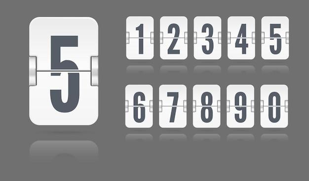 Biały zestaw liczb klapek na mechanicznej tablicy wyników unoszącej się z odbiciami na białym tle na ciemnym tle. szablon wektor dla swojego projektu.