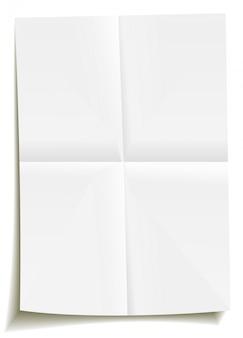 Biały zgięty pusty papier, złożony dwukrotnie. pusty element