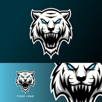 Biały zły tygrys maskotka sport logo e-sport szablon długie kły