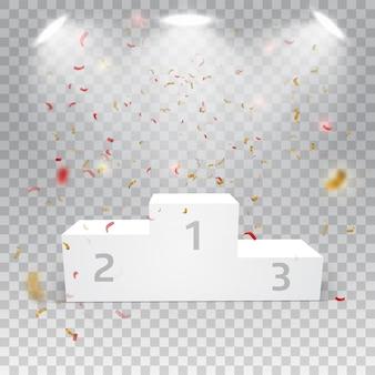 Biały zwycięzca podium z confetti na abstrakcjonistycznym tle.