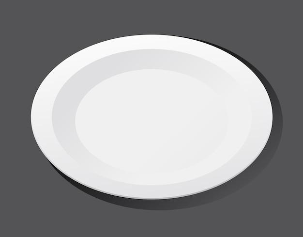 Biały zwykły talerz na czarnym tle