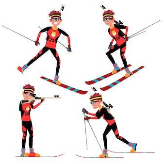 Biathlon męski gracz wektor. w akcji. konkurs biathlonowy dla sportowców na nartach. sprzęt sportowy. postać z kreskówki